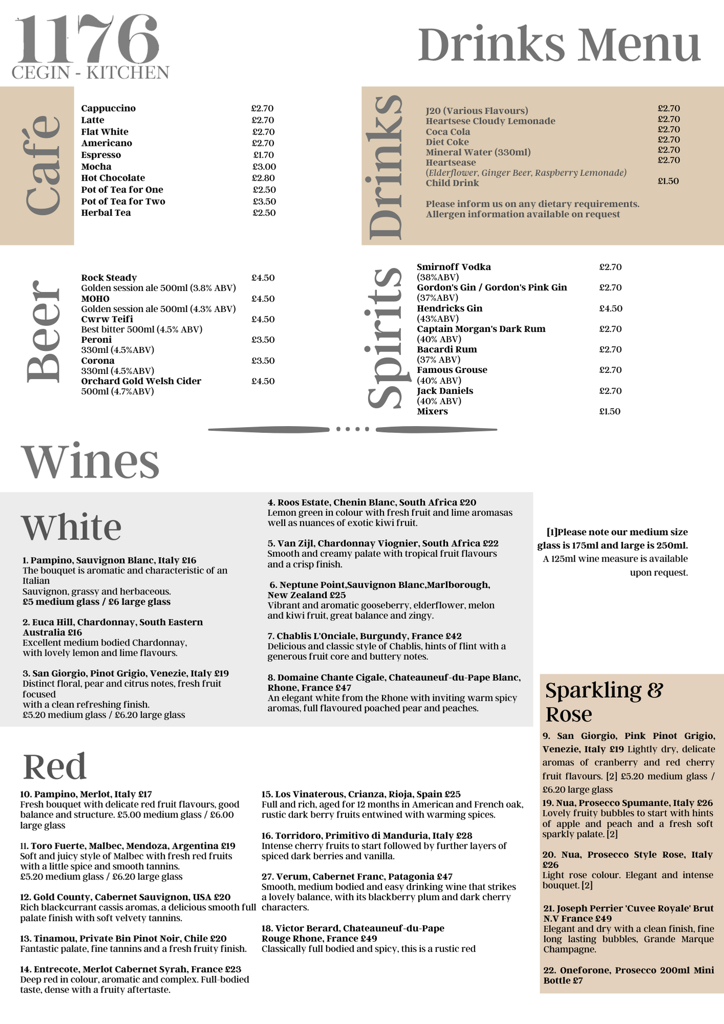 1176 Drinks Menu - New